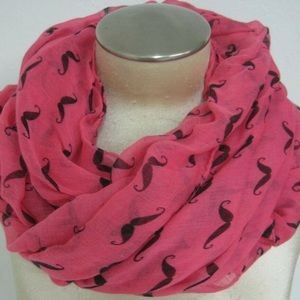 D&Y Infinity Handlebar Mustache Hot Pink Scarf.